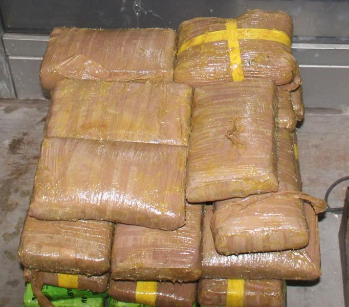 Packages containing nearly 88 pounds of cocaine seized by CBP officers at Pharr International Bridge.