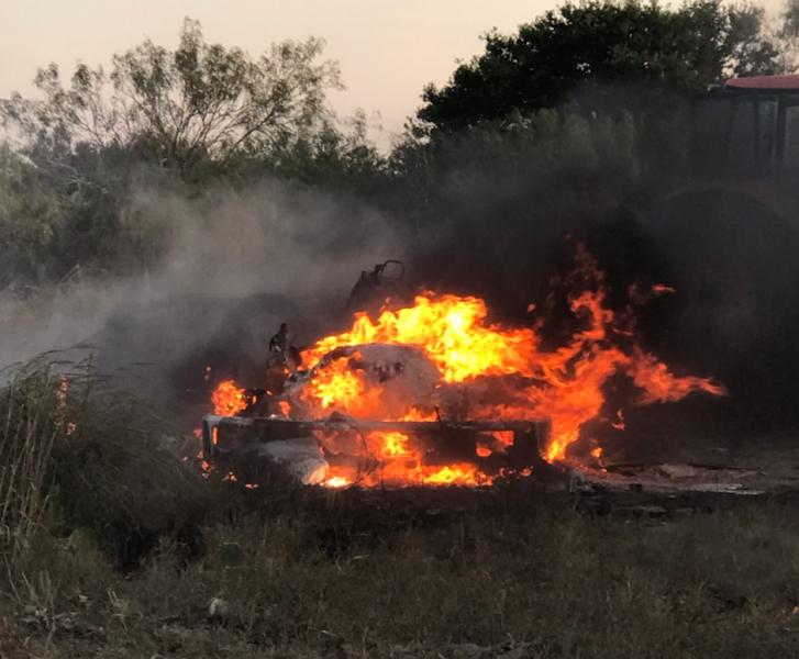 Burning truck.