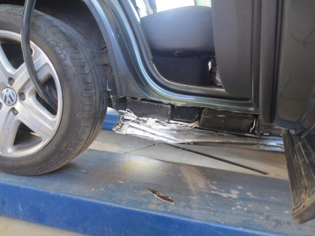 Methamphetamine bundles in the rocker panels.