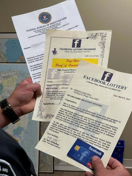 Fake documents for Facebook Lottery Scam