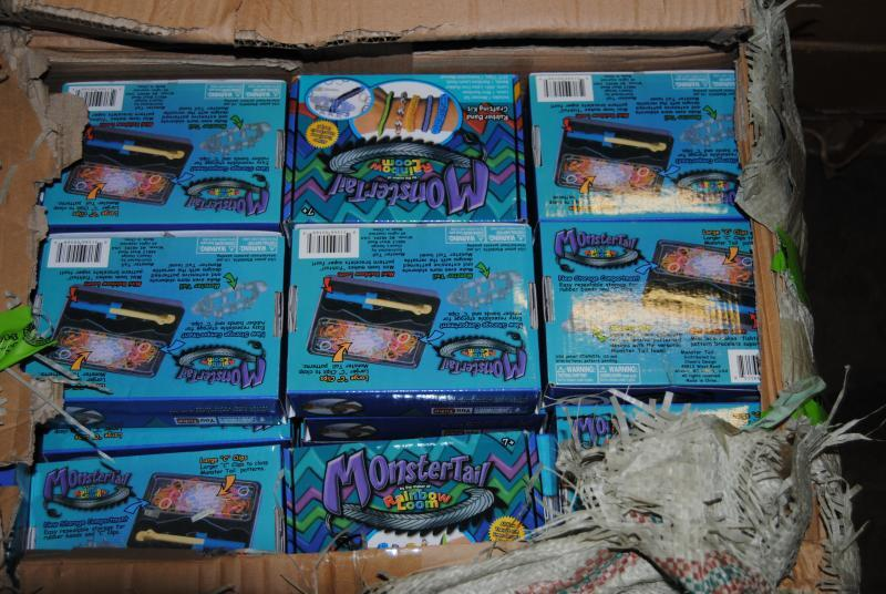 Counterfeit Rainbow Loom Monster Tail kits were seized in Dallas.