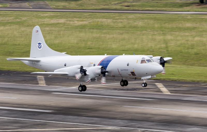 The 13th AMO P-3 Long Range Tracker aircraft lands in Jacksonville, Florida.
