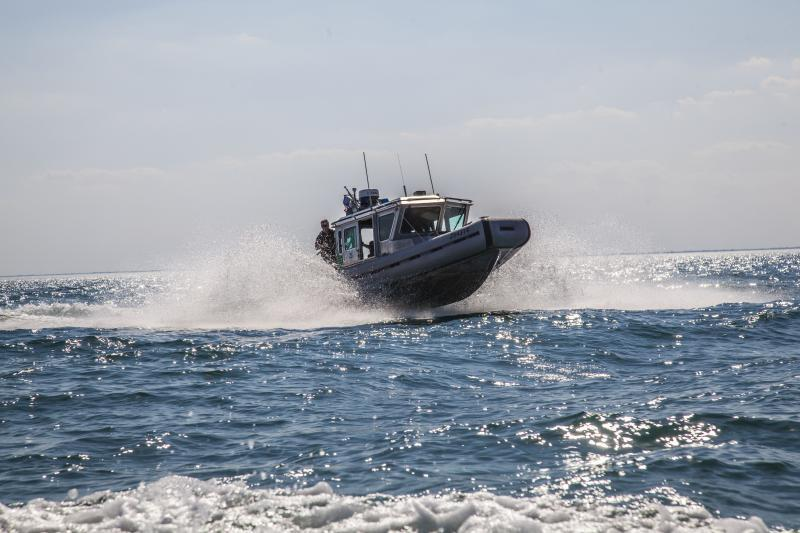 A Border Patrol SAFE Boat patrols Lake St. Clair