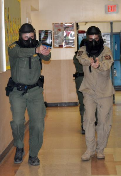 Border Patrol and Air Interdiction agents participate in a joint full-scale active shooter response training in Maine.