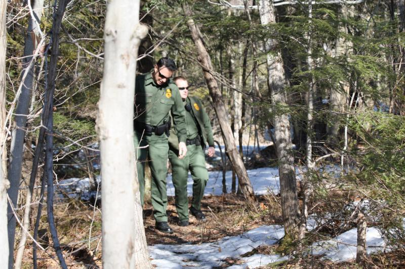 U.S. Border Patrol agents from the Swanton Station patrolling the international border.