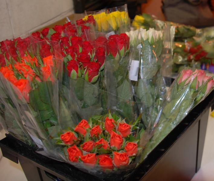A shipment of fresh roses arrive at Boston Logan International Airport for CBP inspection.