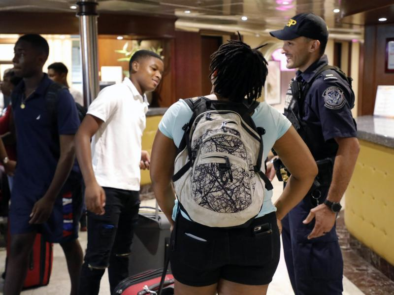 CBP officers process Bahamas evacuees from the C/S Grand Celebration in Palm Beach, Fla., September 7, 2019.