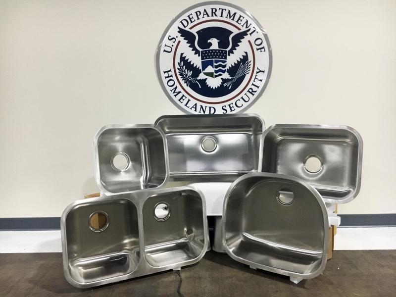 Baltimore CBP seized 2,990 sinks from Malaysia January 17, 2018 for violating trademark protection laws.