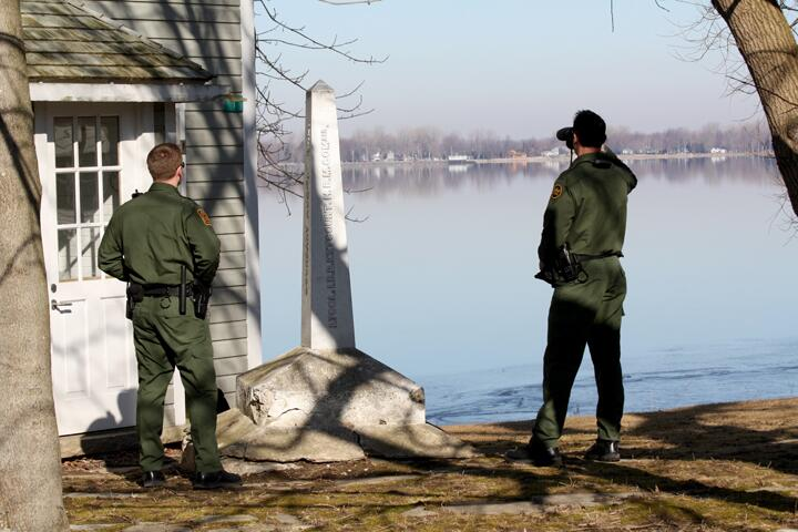 U.S. Border Patrol agents patrolling the international border near Alburgh, Vt.