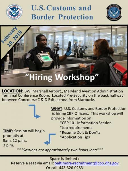 CBP to Host Hiring Workshop at BWI Airport | U S  Customs and Border