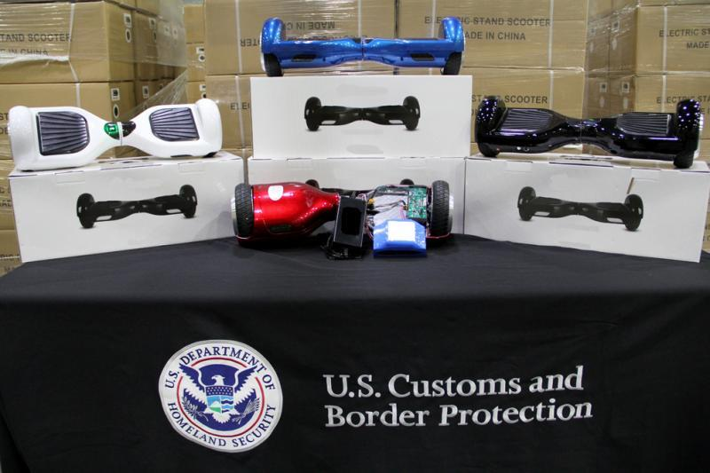 CBP recently seized $1.6 million in counterfeit hoverboards in Charleston, S.C., for possessing counterfeit labels and potentially dangerous ion lithium batteries.