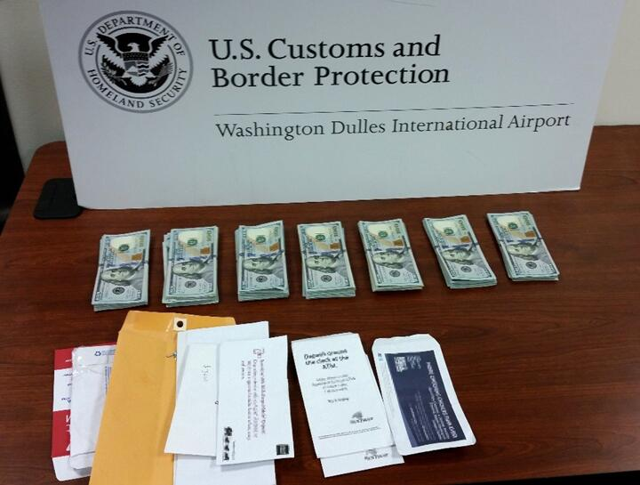 Dulles CBP officers seized $20,211 from an Ethiopia-bound couple on Saturday.