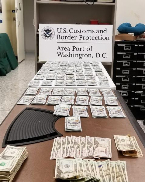 Customs and Border Protection officers seized nearly $340,000 in unreported currency at Washington Dulles International Airport during September 9-17, 2020.