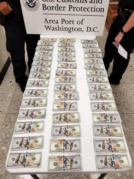 Customs and Border Protection officers seized nearly $44,000 in unreported currency from an Ethiopia-bound traveler at Washington Dulles International Airport on October 5, 2020.