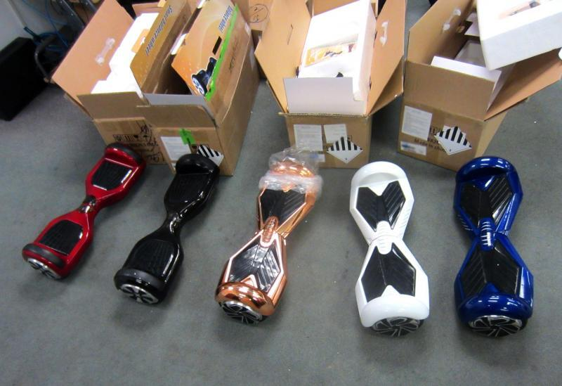 CBP seized 15 hoverboards, worth an estimated $4,500 MSRP, with counterfeit trademark and potentially dangerous batteries at Sterling, Va., on December 29, 2015.