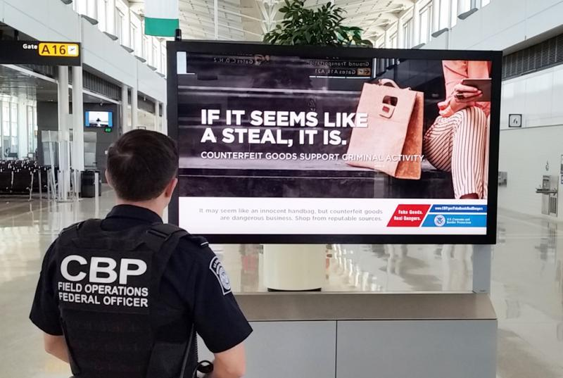"CBP launches 'The Truth Behind Counterfeits"" awareness campaign at Washington Dulles International Airport."
