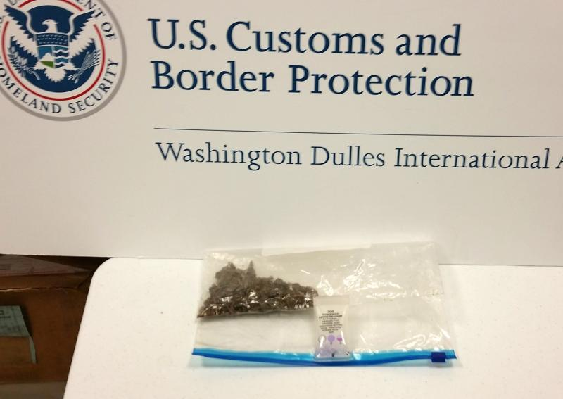 Dulles CBP officers seized 26 grams of marijuana from a traveler returning from Mexico December 26, 2017.