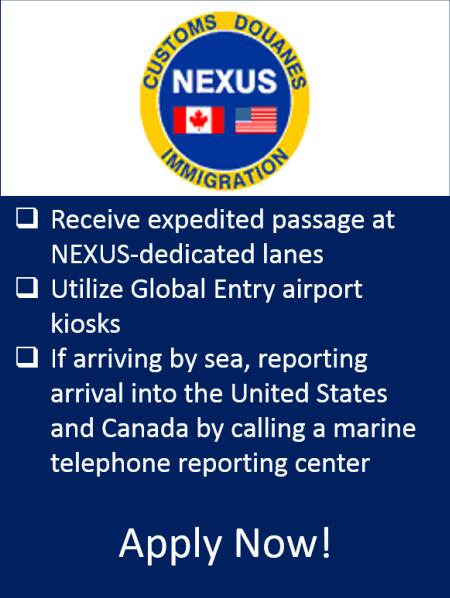 CBP NEXUS trusted traveler membership helps traveler expedite travel between the United States and Canada.