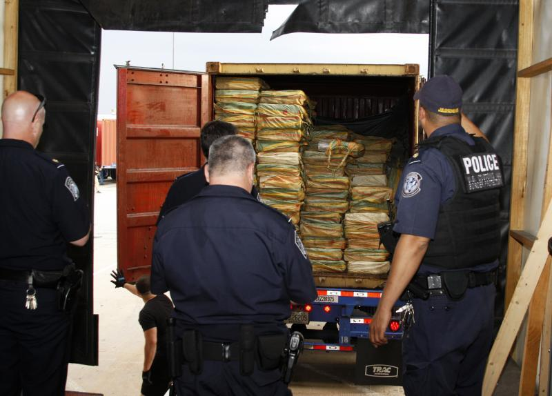 One of seven containers that concealed a record 39,525 pounds of cocaine that CBP seized in Philadelphia June 18, 2019.