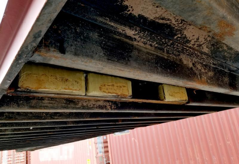 CBP officers discovered 614 pounds of marijuana concealed in the bottom of a shipping container.