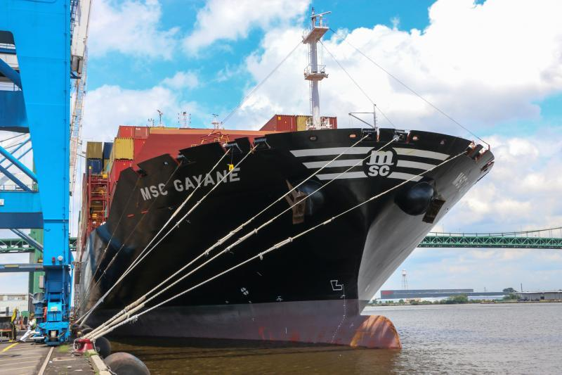 Photo of MCS Gayane moored in Philadelphia after CBP's record cocaine seizure.