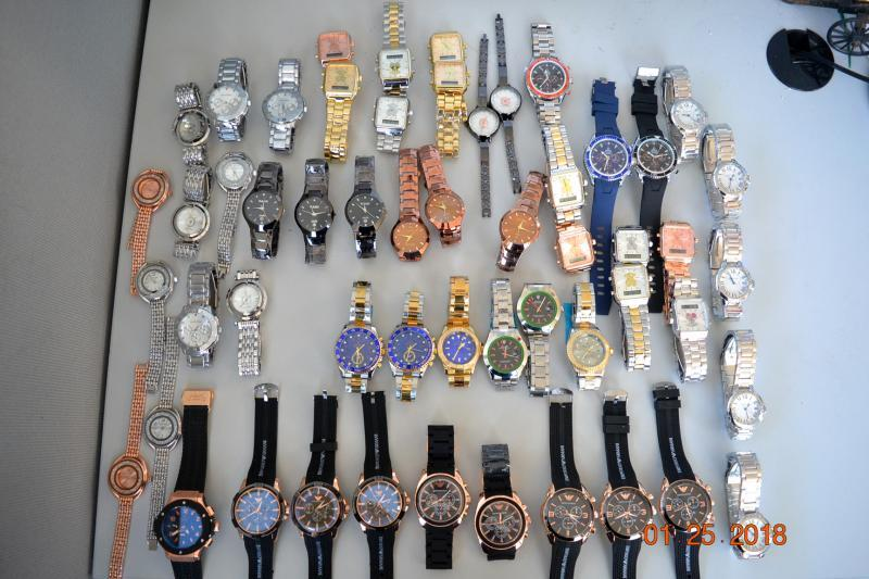 Philadelphia CBP officers seized these 54 counterfeit designer brand watches February 27, 2018.