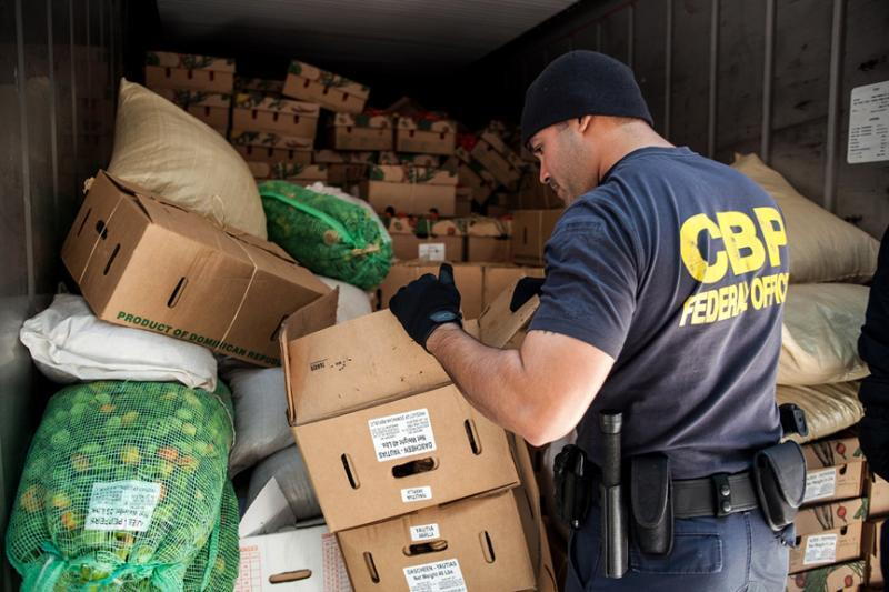 In this file photo, CBP inspects a container of produce.