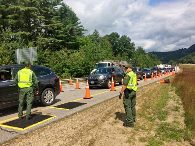 Swanton Sector Border Patrol agents staffed a temporary checkpoint on I-93 in New Hampshire June 15-17, 2018.
