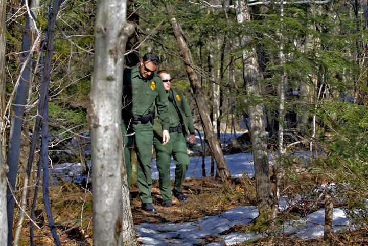 Border Patrol agents from Swanton, Vt., Border Patrol Station patrol the northern border in this file photo.