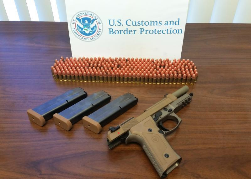 Handgun and ammo CBP seized at Port of Wilmington , Del. July 26, 2018
