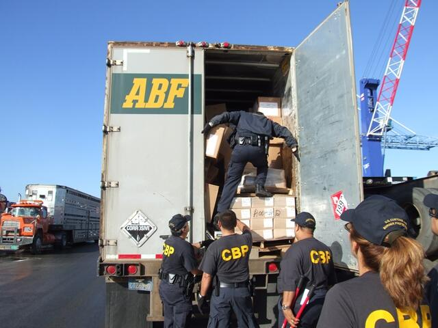 (File Photo) An intrusive container inspection by CBP Officers