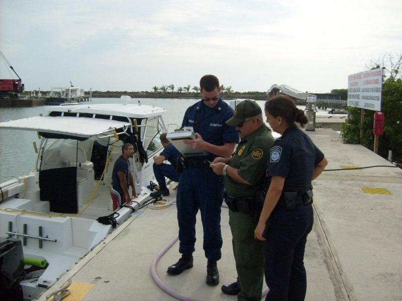 CBP Officers inspect boaters along with Border Patrol and Coast Guard to ensure compliance with federal law.