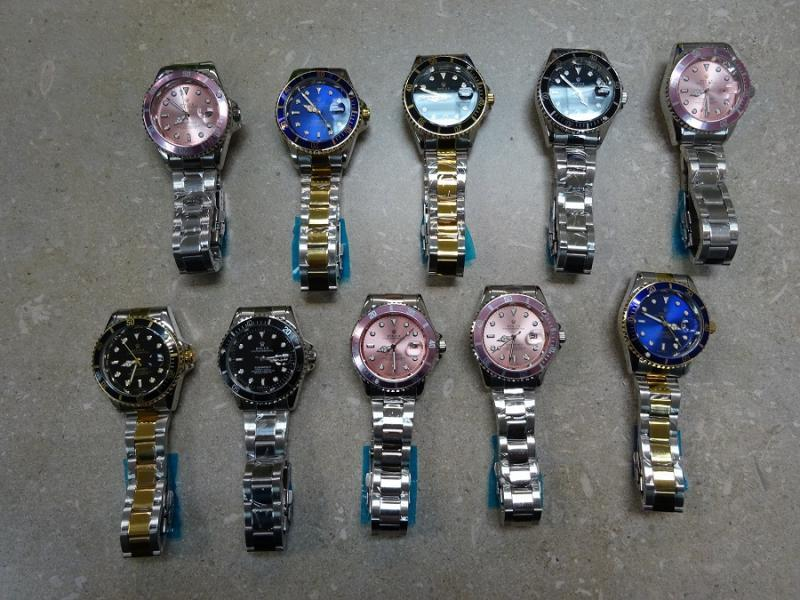 A display of all the seized fake Rolex watches