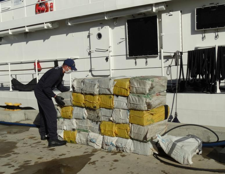 Bales of cocaine offloaded in San Juan.