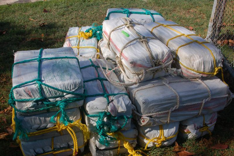 Bales of cocaine that were retrieved from the go-fast vessel
