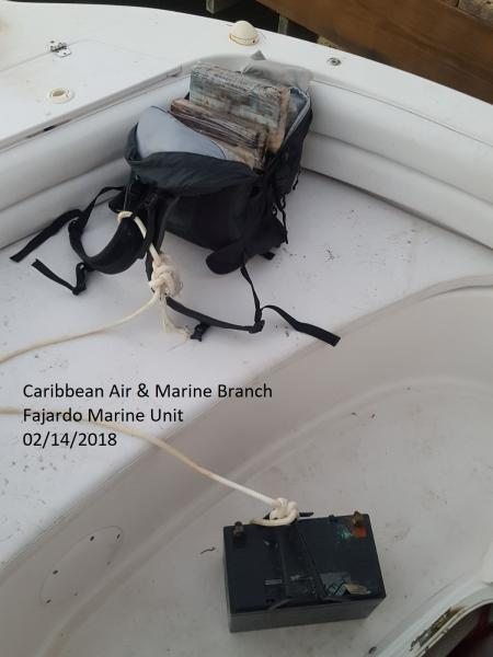 A Backpack filled with cocaine bricks found inside the private vessel.