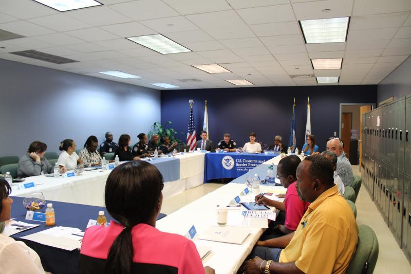EAC Brenda Smith and the San Juan Field Office staff meet with Virgin Islands trade in Charlotte Amalie.