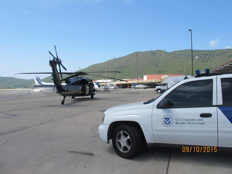 A view of CBP OFO and AMO resources at the Cyril E. King Airport