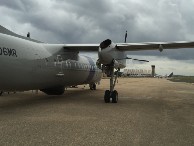 A DHC-8 maritime patrol aircraft regularly patrols the Caribbean to detect smuggling incidents.