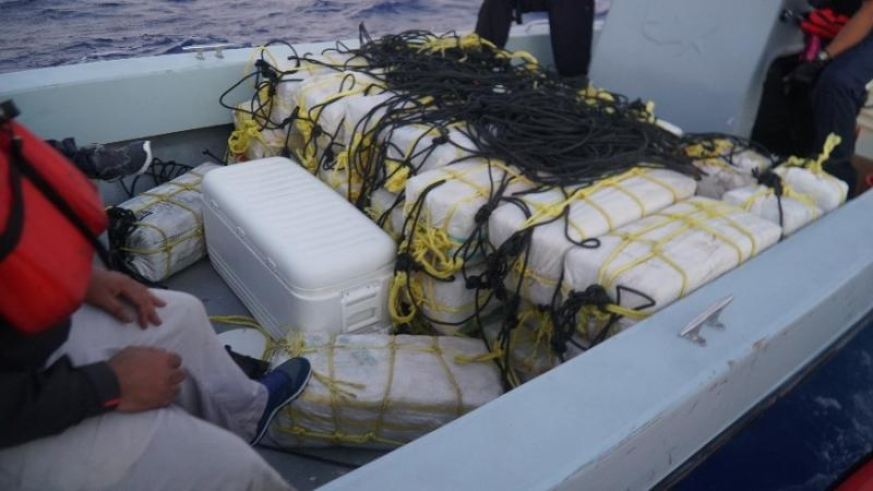 Bales of narcotics found inside the go fast vessel (Photo: USCG Sector San Juan)