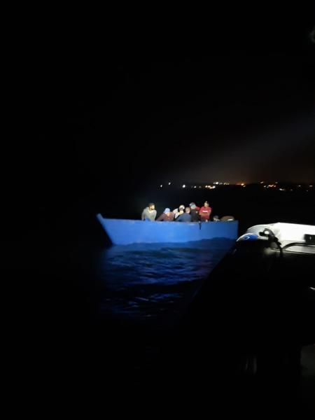 Image of the vessel with 24 aliens by PRPD near Crash boat beach in Aguadilla PR