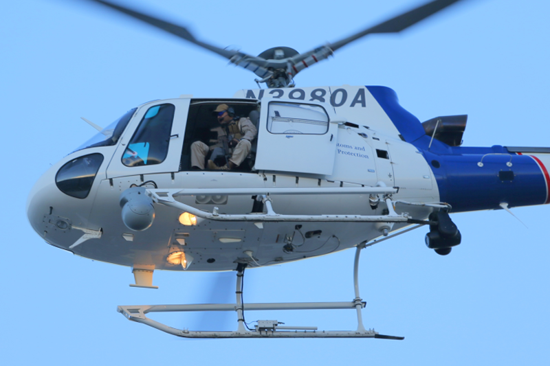 An Air and Marine Operations AS350 aircrew conducts operations in El Paso, TX.