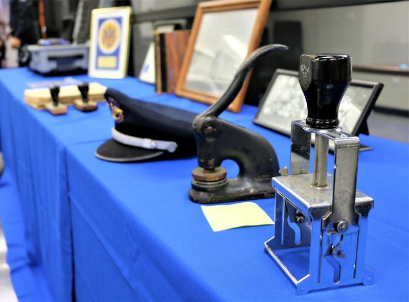 Historical stamp machines, uniforms, documents and photos were on display