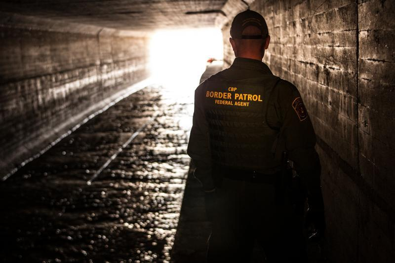 USBP agent in tunnel