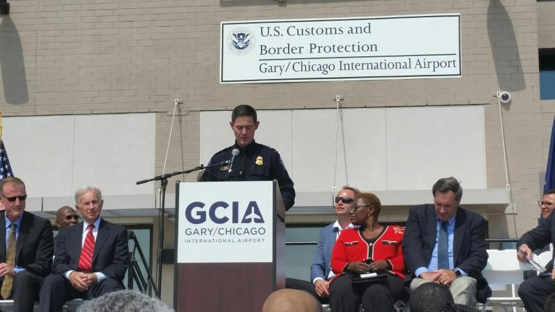 Chicago Port Director, Matthew Davies, gives his remarks during the grand opening of the General Aviation Facility in Gary, Ind.