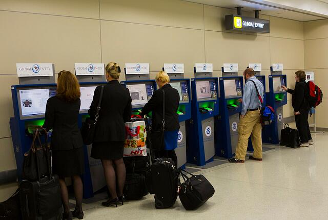 Global Entry members complete their entry into the U.S. using Global Entry kiosks.