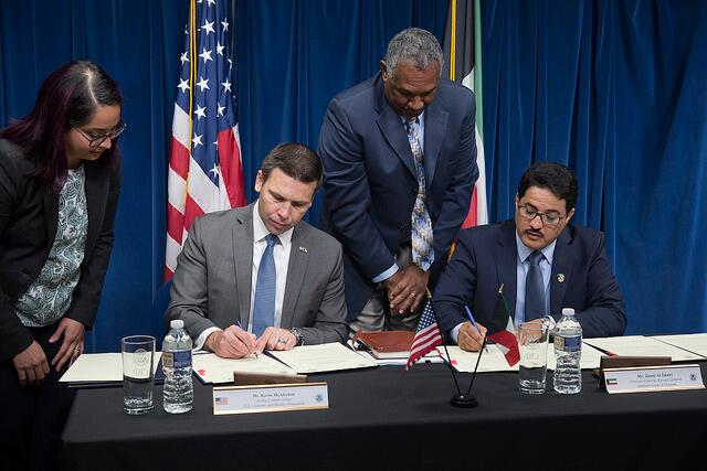 CBP Commissioner and Kuwait General Administration of Customs sign the CMAA.