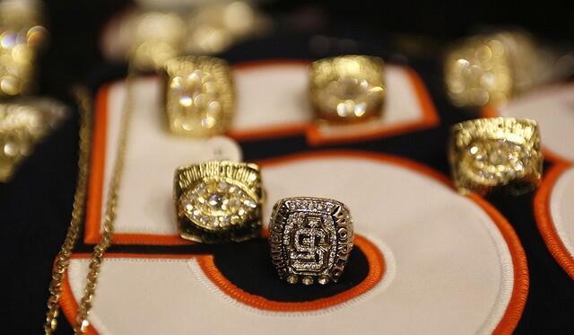 Counterfeit Super Bowl rings that were seized during Operation Team Play