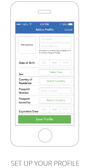 Screenshot of Mobile Passport Control App Profile page