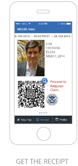 Screenshot of Mobile Passport Control App Receipt page